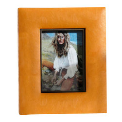 Equestrian Faux Leather Square Photo Frame, 5 X 7 - Pictures are given full attention and the benefit of luxurious surroundings in the Equestrian Faux Leather Square Photo Frame.  The buttery caramel color of this frame suggests well-cared-for hide, an impression of the elite and comfortable for a chic look in a tabletop display.  Pair with other leather accents for a polished yet appealingly relaxed look in the traditional home.