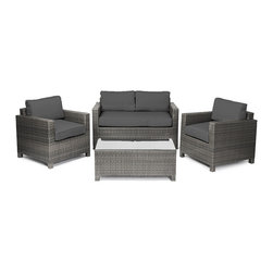 """Reef Rattan - Reef Rattan Ibiza 4 Pc Conversation Set - Grey Rattan / Grey Cushions - Reef Rattan Ibiza 4 Pc Conversation Set - Grey Rattan / Grey Cushions. This patio set is made from all-weather resin wicker and produced to fulfill your needs for high quality. The resin wicker in this patio set won't fade, shrink, lose its strength, or snap. UV resistant and water resistant, this patio set is durable and easy to maintain. A rust-free powder-coated aluminum frame provides strength to withstand years of use. Sunbrella fabrics on patio furniture lends you the sophistication of a five star hotel, right in your outdoor living space, featuring industry leading Sunbrella fabrics. Designed to reflect that ultra-chic look, and with superior resistance to the elements in a variety of climates, the series stands for comfort, class, and constancy. Recreating the poolside high end feel of an upmarket hotel for outdoor living in a residence or commercial space is easy with this patio furniture. After all, you want a set of patio furniture that's going to look great, and do so for the long-term. The canvas-like fabrics which are designed by Sunbrella utilize the latest synthetic fiber technology are engineered to resist stains and UV fading. This is patio furniture that is made to endure, along with the classic look they represent. When you're creating a comfortable and stylish outdoor room, you're looking for the best quality at a price that makes sense. Resin wicker looks like natural wicker but is made of synthetic polyethylene fiber. Resin wicker is durable & easy to maintain and resistant against the elements. UV Resistant Wicker. Welded aluminum frame is nearly in-destructible and rust free. Stain resistant sunbrella cushions are double-stitched for strength and are fully machine washable. Removable covers made with commercial grade zippers. Tables include tempered glass top. 5 year warranty on this product. PLEASE NOTE: Throw pillows are NOT included. Two Seat Sofa: W 57"""""""