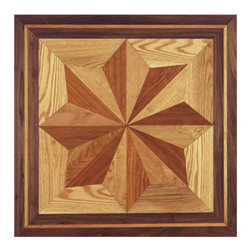 """Custom Hardwood Supply - Saratoga Hardwood Flooring Inlay - This hardwood flooring inlay comes standard 3/4"""" thick species.  Inlays come unfinished but can be custom ordered prefinished for an additional charge. Manufactured in Louisville, Kentucky."""