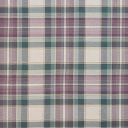 Green, Purple and Off White Country Plaid Upholstery Fabric By The Yard - This upholstery fabric is great for all indoor upholstery, bedding, window treatments and fabric related projects. This material combines luxury with durability. It will truly look great on any piece of furniture.