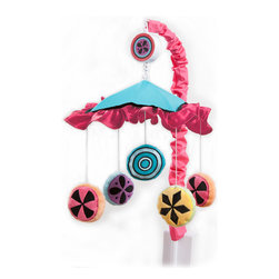 Magical Michayla - Mobile - Magical Michayla musical mobile showcases all the colors in the collection.  Top is cotton fabric with main color of turquoise and ruffle trim in pink.  Each hanging piece is designed in minky fabrics and are miniature replicas of the collections signature pattern.  Also available in sets!