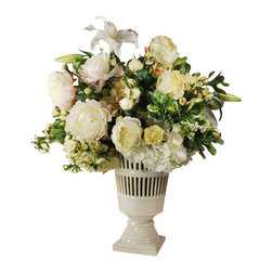 Jane Seymour Botanicals - Peonies in Vase - A classic style that's been around for ages deserves flowers that will last for more than just a few days. This traditional, permanent floral display features roses, peonies, viburnum and hydrangeas in soft cream and white shades, all expertly arranged in a ceramic urn. Place this elegant display on your table, fireplace mantel or atop your piano for a tasteful accent you can enjoy for many years to come.
