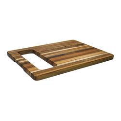 Proteak Edge Grain Rectangle with Centered Carrying Hole 15.5 x 12 x 0.75 - A unique teak cutting board by Proteak, this design features an extra large carved out carrying handle. Hang it in the kitchen or use the board as a serving tray and use the cutout to hold a dish or silverware; the creative opportunities are wide open with this design. Made from a spectrum of gold and brown teak grain, each Proteak cutting board is comprised of organically harvested, North American teak. Teak is one of the most resilient woods due to its natural oils, which help prevent water damage and staining from foods.  Maintain regularly with Proteak Chopping Block and Cutting Board oil. Prized tropical hardwood that is sustainably harvested. Rainforest Alliance and Forest Stewardship Council certified. Proteak has planted over 4,000,000 million trees and growing.