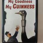 Vintage Guinness Beer Ostrich Bar Room Postcard Sign by Season's Greetings - No trip to Ireland is complete without drinking a pint of Guinness at the Dublin brewery. Guinness is an advertising pioneer, and this wall hanging is a fun way to add a bit of vintage art to your kitchen or home bar.