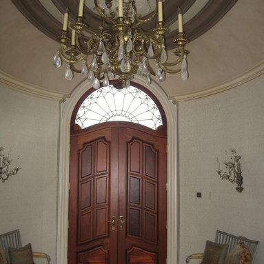 Entry Door - Wood Door with Iron Grill above
