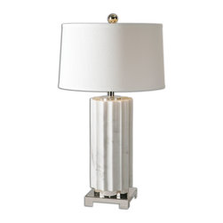 Uttermost - Uttermost Castorano White Marble Lamp 27911-1 - Scalloped profile with a white marble finish accented with polished nickel plated details. The tapered round hardback drum shade is a white linen fabric with natural slubbing.