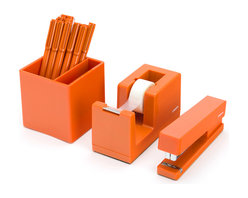 Poppin - Starter Set, Orange - Starter Set includes: Stapler with free Staples, Tape Dispenser with free Tape, Box of 12 Signature Pens, and Pen Cup