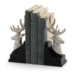 Go Home - Pair of Montana Bookends - Adorable Montana Bookends is crafted with wood and nickel plate brass.These bookends are perfect for your big art and design books.Sold as a Pair.