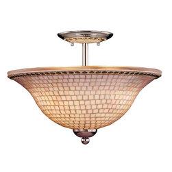 Minka Lavery - 6057-77 Piastrella Bath 3-Light Semi Flush in Chrome Finish w/Mosaic Tile Glass - Product Features: