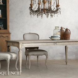 Eloquence - Eloquence Gustavian Dining Table - New! The Eloquence Gustavian Dining Table. Refined and handsome piece in pale natural wood, with geometric carved detailing. Gorgeous weathered surface gives this piece an authentic antique look. In Oak Driftwood finish.