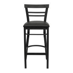 Flash Furniture - Hercules Series Black Ladder Back Metal Restaurant Bar Stool - Black Vinyl Seat - This heavy duty commercial metal bar stool is ideal for Restaurants, Hotels, Bars, Pool Halls, Lounges, and in the Home. The lightweight design of the stool makes it easy to move around. The tubular foot rest not only supports your feet, but acts as an additional reinforcement that helps secure the legs. This stool will keep you comfortable with the easy to clean vinyl upholstered seat. You will not regret the purchase of this bar stool that is sure to complement any environment to fill the void in your decor.
