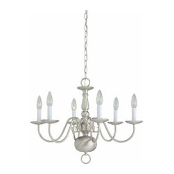 Sea Gull Lighting - 6-Light Chandelier Brushed Nickel - 3411-962 Sea Gull Lighting Traditional 6-Light Chandelier with a Brushed Nickel Finish