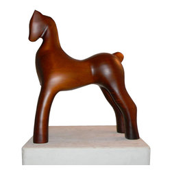 Wood Sculpture - Horse Ella - -Handmade by artisans in Chile
