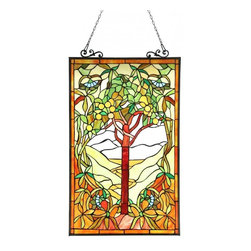 None - Tiffany Design 'Tree of Life' Stained Glass Panel - This Tiffany Tree of Life design will add color and warmth to any setting. The window panel contains over 460 pieces of Tiffany style glass.
