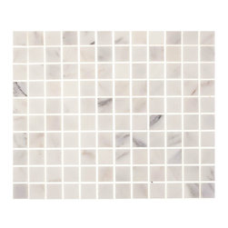 "Tile Circle - Aspen White Marble 1""X1"" Square Tile (Backsplash, Wall, Floor, & Shower), 12x12 - Aspen White Marble Square Tile.  Perfect for kitchen backsplashes or bathroom tile installations."
