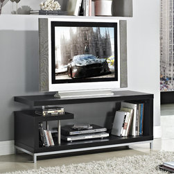 None - Black 45-inch Plasma TV LCD Stand/ Media Console - Enhance your living room decor with this modern TV stand and media console. This stand features a beautiful black finish with two shelves for storage.