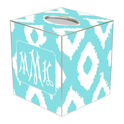 Marye Kelley - Ikat Grande Aqua Personalized Tissue Box Cover - The Ikat Grande tissue box cover's custom design lends modern charisma. Featuring silver trim, this personalized monogram accessory excites with an aqua and white ikat print. Available in papier mache, tin and wood; Choose font style; Enter initial, name or monogram exactly as it should appear; Made in the USA