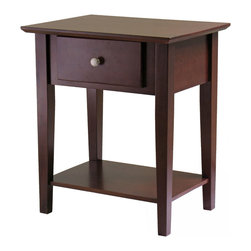 Winsome - Shaker Night Stand with Drawer - Shaker style end table/ night stand is made of solid and composite wood, finished in Antique Walnut stain. The beveled top gives an upscale look to the table which is complete with storage drawer and bottom storage shelf. The table is 22 in. Lx16 in. D x 25 in. H. Easily assembled, instructions and tool included.
