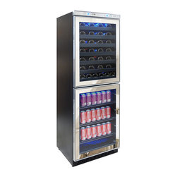 Vinotemp - Vinotemp - Mirrored Touch Screen Cooler - Vinotemp's Mirrored Touch Screen Wine and Beverage Cooler is the ultimate entertaining center. This sophisticated mirrored cooler can house up to 54 standard wine bottles in the upper zone and 120 12 oz. cans in the lower zone. Front exhaust allows this cooler to fit seamlessly into existing cabinetry, lending a modern touch to any room. A touch screen control panel located at the top of the door allows you to monitor the temperature as well as adjust as needed.