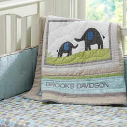 Brooks Nursery Bedding - Sweet safari style makes this nursery bedding an instant favorite. Elephants, pandas, rhinos and giraffes are artfully captured in chambray and heathered cotton appliqués on the cozy quilt. The coordinating bumper features ginghams and solids that are pieced together for an heirloom appeal. Pure organic cotton makes the sheeting supersoft, and watercolor circles and safari animals make them supercute.