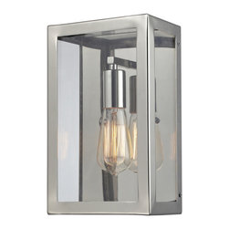 ELK - ELK 31210/1 Wall Sconce - This Series Showcases A Minimalist Angular Design With A Modern-Traditionalist Edge. Polished Nickel Metal Framework Elegantly Displays The Clear Glass Panels While Optional Filament Bulbs Offer A Decorative Focal Point To The Functional Aspects Of The Series.