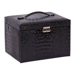 Mele Jewelry - Mele and Co. Dahlia Drop Front Jewelry Box with Lock in Black - Mele Jewelry - Jewelry Boxes - 0069762