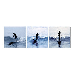 Baxton Studio - Baxton Studio Surf Silhouettes Mounted Photography Print Triptych - Balancing on a board with sea spray at his feet feels like freedom for this wave warrior. Three photographs of a surfer's early morning cruise atop the ocean are printed on sheets of waterproof vinyl canvas and mounted on MDF wood frames, fully assembled and ready to hang in your home or office. Printed and manufactured in China, this contemporary photo set does not include mounting hardware. To clean, we recommend dry dusting.