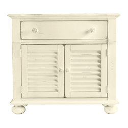 Stanley Furniture - Coastal Living Cottage Summerhouse Storage Chest - Summer is the brilliant warmth longed for in the gray days of winter. This versatile Summerhouse Chest from Coastal Living s Cottage collection makes sure summer is with you all year. Chest has the ease and joyous feel of the perfect summer s day and you will certainly revel in its usefulness. Whether it s for extra storage, an LCD TV stand or a nightstand you ll love the versatility. Top drawer and louvered double doors underneath with an adjustable shelf inside provide a good deal of storage space. Round wood knobs on doors and drawer display the smooth ridges you might find on seashells and driftwood. Molding around the top and bottom edge with bun feet on base. Choose from thirteen painted finishes. Is that summer calling? Go ahead, answer.