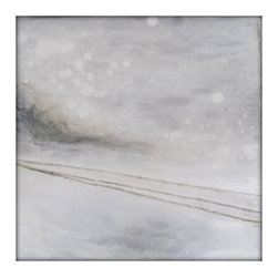 Abstract Winter Landscape Original Painting on Canvas - Original Abstract Painting on Canvas by Gina Perillo
