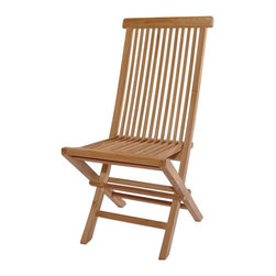 Anderson Teak - Unfinished Classic Medium Slat Back Folding Chair - Set of 2 - Indulge a glass of Pouilly Montrachet and an antiquated author's delicious imagination in your Teak Wood Slat Back Folding Chair, a piece reflective of first class craftsmanship, captivating design, and an understanding that even the simplest of pleasures should be characterized by supreme luxury and style.  You can have both beauty and portability with our durable and lightweight teak frame folding chairs.  You'll also find exciting prices that make it practical to own a set or keep them handy for large gatherings.  Store as needed or leave them out for everyday enjoyment.  It is unfinished and affordably priced to accent any décor. * Set of 2. Foldable. Slat back and seat design. Made from the finest solid Teak. No assembly required. Overall: 18 in. W x 21 in. D x 39 in. H (13 lbs.). Seat height: 18 in. Our folding chair is a very sturdy, very versatile side chair, which is the perfect complement to our table. This chair is claimed to be the most convertibles chair of our product. Made from the finest solid Teak, which is strong and durable; yet light enough to allow for easy storage. This is a beautiful and functional piece of furniture for your patio or terrace. This simple, lovely chair offers pleasure and comfort with each use.