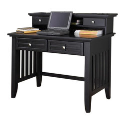 Home Styles - Home Styles Arts and Crafts Student Desk and Hutch - Home Styles - Student Desks - 5181162 - Mission Styling at its best! The Arts and Crafts Student Desk embellishes typical mission styling with framed doors showcasing raised wood, lattice moldings on the two storage drawers and slightly flared legs. The hutch features cable access, two storage drawers, and an open storage shelf. Construction is of poplar solids and engineered wood in a multi-step Black finish. Two piece set includes the desk and hutch.