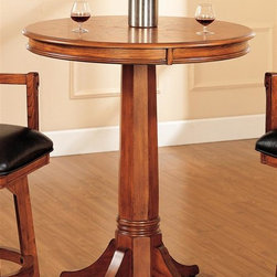 Hillsdale - Park View Bar Height Table in Medium Brown Oa - Composed of solid woods. Climate controlled wood composites, and veneers. Classic pedestal base. 36 in. Dia. x 42 in. HAdd traditional charm to your game room or kitchen with Hillsdale Furnitures Park View Pub table. With a classic pedestal base this bar height table with 36 in. Dia. top is a perfect complement to the swivel barstools. Composed of solid woods, climate controlled wood composites, and veneers, this table can find a home in your game room, den, or kitchen.
