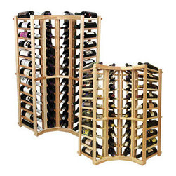 Wine Cellar Innovations - Curved Corner Individual Bottle; Vintner: Rustic Pine, Unstained - 4 Ft - This curved wine rack kit makes an excellent solution to attractively store your wine where a 90 degree directional transition is needed, or just to add creativity to the design of the wine room. Purchase two to stack on top of each other to maximize the height of your wine storage. Moldings and platforms sold separately. Assembly required.