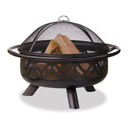 """Uniflame 36"""" Oil Rubbed Bronze Firebowl with Geometric Design - Similar to the chevron print, the geometric design along the Uniflame 36"""" Oil Rubbed Bronze Firebowl is a brilliantly eye-catching design. -Mantels Direct"""