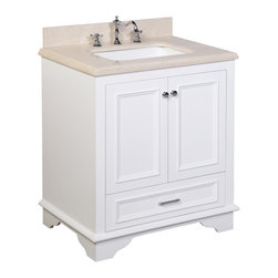 Kitchen Bath Collection - Nantucket 30-in Bath Vanity (Crema Marfil/White) - This bathroom vanity set by Kitchen Bath Collection includes a white cabinet with soft close drawers, double thick Crema Marfil beige marble countertop, double undermount ceramic sinks, pop-up drains, and P-traps. Order now and we will include the pictured three-hole faucets and a matching backsplash as a free gift! All vanities come fully assembled by the manufacturer, with countertop & sink pre-installed.