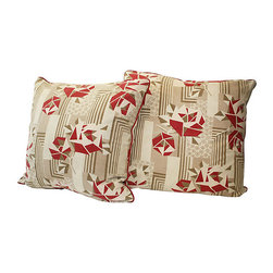 Acapillow - French Art Deco Fabric Pillow, Pair - Pillows made with a vintage 1930s Art Deco French fabric.  Backed in new linen, red welt all around and zipper closure.  Care:  Dry-clean only.  Handmade in Santa Monica, California.
