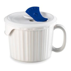 Corningware - CorningWare 20-Ounce Mug with Venting Plastic Cover - The recipe for a great dish starts with a great ceramic dish! CorningWare French White Pop-Ins mug makes baking and serving in one dish a pleasure.