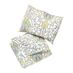 DwellStudio - Victoria Duvet Set by DwellStudio - A playful, kid-friendly take on the classic DwellStudio Peacock pattern. The DwellStudio Victoria Duvet Set has bright aqua, yellow and grey peacocks sharing their place amongst the vining arbors and leaves with other little songbirds. The set includes one cotton percale duvet cover and one or two pillow shams (for the Twin or Full option, respectively). DwellStudio, founded in 1999 by Christiane Lemieux, specializes in home furnishings steeped in modern design. With a unique sense of color and a strong commitment to quality and innovation, DwellStudio continues to create its own distinctive interpretation of modern home furnishings. In the same creative spirit, the company encourages their customers to experiment with mixing various DwellStudio textile lines together.