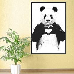 My Wonderful Walls - Panda Wall Sticker - All You Need Is Love Panda Art by Balázs Solti, Medium - - Product:  panda bear wall sticker with heart hands