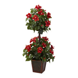 """Nearly Natural - Nearly Natural 39"""" Hibiscus Topiary - You'll get twice the beauty with this striking Double Hibiscus Topiary. Featuring two distinct blooms of colorful Hibiscus flowers amid lush green leaves and a stately trunk, this wonderful specimen stands a full 39"""" high. Complete with a decorative planter, it makes for a very versatile decoration, and looks great almost anywhere, without ever needing water. Buy one for yourself, and one as a gift for that nature lover in your life."""