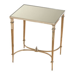 Rectangular French Square Leg Table - Nickel and Mirror - Reflective polish expands your space and enhances your light and when applied to functional furnishings, suggests a taste for the exquisite in your choice of home accents. Made from silvery nickel and panels of mirrored glass, this Rectangular French Square Leg Table is glamorously completed by curved stretchers and a delicate finial beneath.
