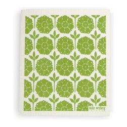 Swedish Dishcloth Garden, Green - THE SWEDISH ECO-FRIENDLY DISHCLOTH: The dry sponge cloth was invented in 1949 by the Swedish engineer Curt Lindquist, who discovered that a mixture of natural cellulose (wood pulp) and cotton can absorb an incredible 15 times its own weight in water.