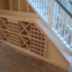 "Custom Wine Rack - Custom designed wine storage unit, with drawer - designed to fit into space next to staircase.  Will hold approx 95 bottles of wine.  Dimensions 3' 6"" x 10' 3"""