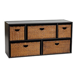 Ballard Designs - Abbeville Large 5-Compartment Stacking Cabinet with Baskets - Rear connecting brackets for extra stability. Label pulls for easy organizing. Mix & match drawer & basket styles. Instant custom storage for any room or closet. Solidly crafted using select veneers, each stacking cabinet organizer has a slightly recessed top and bottom so you can stack up to 6 feet high. Shelf styles hold one large or two small open handle baskets respectively, or you can remove the baskets to create shelves. Click here to view the Abbeville Collection.Abbeville Large 5-Compartment Stacking Cabinet with Baskets features: .  . .