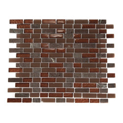 "Brick Pattern Copper Clay Blend Marble & Glass Tile Brick - COPPER CLAY BLEND 1/2X2 BRICK PATTERN GLASS TILE This striking combination of the metallic copper and frosted copper glass mixedw ith a natural rojo verona marble creates a relaxing and stylish backsplash to any room. The wavy polish finish gives a distinctive appearance; great to use for the bathroom, kitchen or pool installation. Chip Size: 1/2"" x 2"" Color: Metallic Copper, Copper, Rojo Verona Material: Glass and Rojo Verona Marble Finish: Textured, Frosted, and Tumbled Sold by the Sheet - each sheet measures 13"" x 12"" (1.08sq. ft.) Thickness: 8mm"