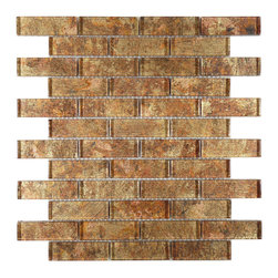 "Euro Glass - Galaxie Warm Glow  1"" x 3"" Bronze/Copper Folia Brick Glossy Glass - Sheet size:  11 3/4"" x 12""        Tile Size:  1"" x 3""        Tiles per sheet:  42        Tile thickness:  1/4""        Grout Joints:  1/8""        Sheet Mount:  Mesh Backed         Important Information:  During manufacturing  color is bonded to the back of the glass tiles. As a result  color may vary. Tiles should not be installed in areas exposed to direct sunlight as color will change.         Sold by the sheet    -   Folia patterned-glass mosaics offer a unique appearance unachievable with conventional tiles. The vibrancy and depth of color combined with the reflective quality of glass results in a unique and dramatic effect that is borderline out-of-this-world!  They are easy to clean and maintain. They will continue to provide a dazzling appearance for many years to come."
