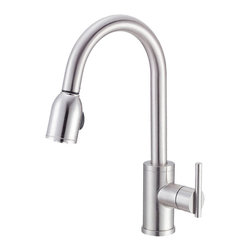"Danze - Danze D457058SS Kitchen Pull-Down Stainless Steel - Danze D457058SS Stainless Steel Single Handle Pull-Down Kitchen Faucet is part of the Parma Kitchen collection.  D457058SS Single hole mount Pull-Down Kitchen Faucet has a 9"" long and 16"" high spout, with 2 function spray/aerated stream.  D457058SS Single lever handle meets all requirements of ADA.  California and Vermont compliant."