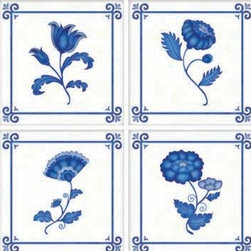 "IdeaStix - Delft TileStix 4-Piece Peel and Stick Tile - TileStix transforms an ordinary tiles into beautiful art decorations.  Made from proprietary rubber-resin, Premium Peel and Stick 4-Piece Embossed Tile Decor is sized for 4"" x 4"" tiles.  With washable, steam and heat resistant, nontoxic and removable and Reusable features, it is ideal for kitchen backsplash and bath/shower tile cecoration and suitable for smooth and non-porous tile surfaces in hot, wet and humid areas.  And since TileStix is Heat-Treated, it is also great for decorating kitchen counters for temporary placing of hot pots and pans.  Surface can be washed with most household cleaning products."