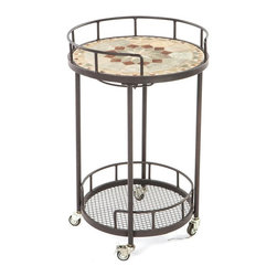 Alfresco Home - Notre Dame Mosaic Outdoor Serving Cart - 21-1316 - Shop for Serving Carts from Hayneedle.com! Elegance and sophistication doesn't have to stop with patio dining and furniture sets and the Notre Dame Mosaic Outdoor Serving Cart shows that even the simplest of items can be truly beautiful. Made from hand forged wrought iron the frame of this serving cart is dipped in a zinc-phosphate bath and E-coated to create a weather-resistant coating. It's finished with a powder coating to provide an extra layer of rust-resistant protection and it also creates a stronger richer color. The expert craftsmanship of this serving cart is displayed in its hand-laid mosaic tiles on the top shelf. Made from natural sources such as marble slate and travertine each tile varies slightly in color resulting in a truly unique serving cart. The top is then grouted with industrial adhesives for durability so the natural beauty of this table is maintained. Under the top shelf is wine glass rack so you have a safe place to store your wine glasses without taking up precious space. A bottom shelf gives you additional storage space for bottles or dishes while the wheels makes moving this serving cart from place to place easy. Ideal for serving your friends setting up a serving station or using for clean-up this versatile serving cart helps to make entertaining easier from set-up to clean-up. Additional Features Features a wine glass rack underneath top shelf Wheels on bottom makes it easy to move Bottom shelf is perfect for storage Cart frame is weather and rust resistant Made with rust proof stainless steel hardware Iron has a thickness of 5mm to 6mm Mosaic tiles are hand-set Tiles come from natural sources Sources include marble slate and travertine Colors will vary slightly on each cart No 2 carts are exactly alike Grouted with industrial adhesives for durability Easy to clean with mild soap and water Includes 1 serving cart Some assembly required 1 year limited warranty About Mosaic Table TopsThe mosaic tiles are hand-set and grouted with industrial adhesives for maximum durability. What this means is if the mosaic top gets wet the grout won't dry out and crack like traditional standard grout would. The top is then finished and sealed with an industrial-grade sealant called Fluorocarbon for superior protection. Natural wear and tear of elements may lead to blistering of the silicone top seal and natural aging of the tile materials. The hand-forged wrought-iron table frame is dipped in a zinc-phosphate bath and then electrostatically coated to help create a weather-resistant coating to delay the onset of rust. Following a quality check for strength and durability iron welds are ground for aesthetic appeal. Finally a powder-coated finish is applied and baked onto the iron for stronger color and protection. As fetching as it is functional this is a piece that will never go out of style. About Alfresco HomeOffering a wide selection of fashionable products from casual furniture and garden lighting to permanent botanicals and seasonal decor Alfresco Home casual living products offer a complete line of interior and exterior living furnishings and accents. Based out of King of Prussia Penn. Alfresco Home continues to blend indoor and outdoor furniture to create a lifestyle of alfresco living inside and outside of the home. Inlaid mosaic tabletops fine hardwood furnishings artisan-inspired accents premium silk botanicals and all-weather wicker sets are just a few examples of the kind of treasures you'll find in Alfresco's specially designed collections.Please note this product does not ship to Pennsylvania.