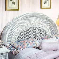 Wicker Headboard-White - The uninterrupted arc of the White Round Back Wicker Headboard adds antique beauty to your bedroom. Woven from all-natural Indonesian wicker this piece is crafted to last a lifetime and the intricate varied patterns offer eye-catching appeal.This headboard in your choice of sizes (based on availability in inventory) and comes in a classic white-wash color.Headboard Dimensions:Twin: 42L x 3W x 48H inchesFull: 57L x 3W x 48H inchesQueen: 63L x 3W x 48H inchesKing: 76L x 3W x 48H inches